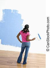 mulher, observar, pintura, job.