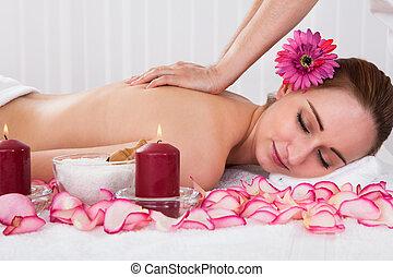 mulher, obtendo, tratamento spa