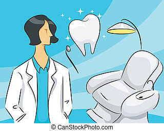mulher, odontólogo