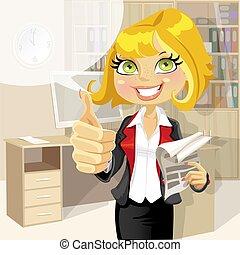 mulher, ok, escritório, negócio, mostrar