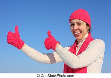 mulher, ok, jovem, luvas, vermelho, gesto, mostra