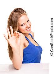 mulher, ok, mostrando, sinal, retrato, sorrindo