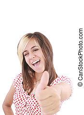 mulher, ok, sinal negócio, isolado, mostrando, jovem, up!, olhar, sorrir., partrait, estúdio, polegares, fundo, branca, câmera