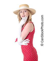 mulher olha, cima, desgastar, retro, moda, com, chapéu palha