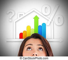 mulher olha, cima, em, energia, eficiente, casa, gráfico