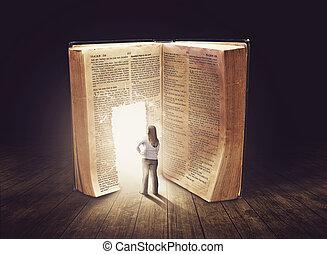 mulher olha, em, grande, livro
