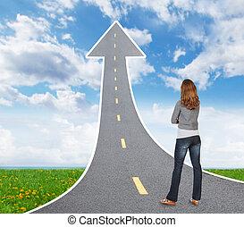 mulher olha, um, estrada
