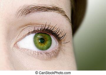 mulher, olho verde