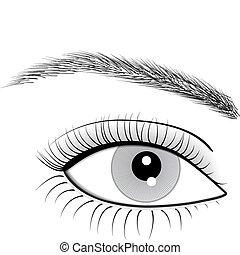 mulher, olho, vetorial, ilustração