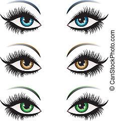 mulher, olhos, em, diferente, cor