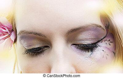 mulher, olhos fechados, com, floral, compor