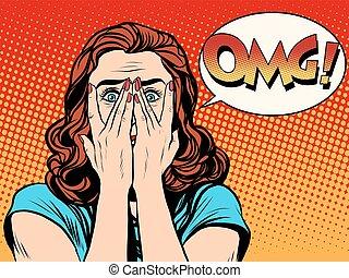 mulher, omg, surpreendido, chocado
