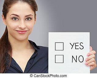 mulher, opção, negócio, não, em branco, cinzento, fundo, segurando, sim, ou