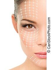 mulher, -, operação plástica, asiático, anti-envelhecimento, tratamento