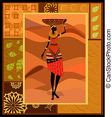 mulher, ornamento, africano