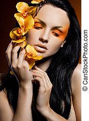 mulher, orquídea, na moda, elegante