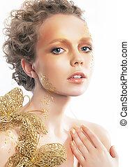 mulher, Ouro, beleza, rosto, criatividade, luminoso, maquiagem