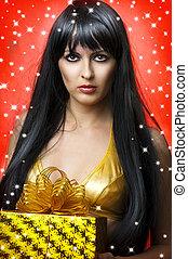 mulher, ouro, presente, beleza, retrato, natal