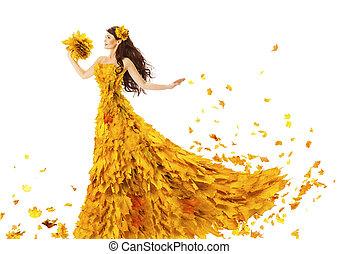 mulher, outono, moda, vestido, de, licenças baixa, modelo, menina, em, amarela, casório, noiva, vestido, branco