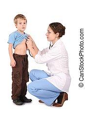 mulher, ouve, doutor, estetoscópio, criança, saída