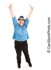 mulher, overjoyed, por, perda peso