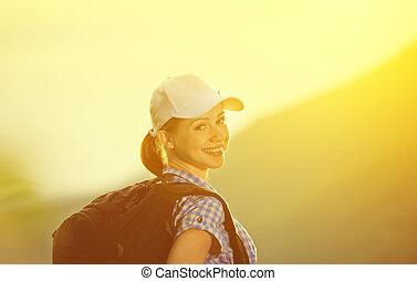 mulher, pôr do sol, feliz, turista, mochila