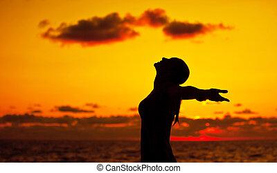 mulher, pôr do sol, silueta, sobre