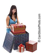 mulher, pôr, giftbox, pacote