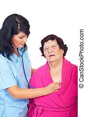 mulher, paciente, avaliar, idoso, doutor