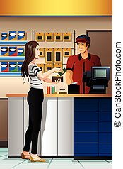mulher, pagar, a, caixa, em, a, loja