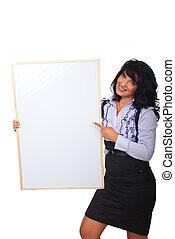mulher, painél publicitário, apontar, negócio, em branco