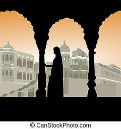 mulher, palácio