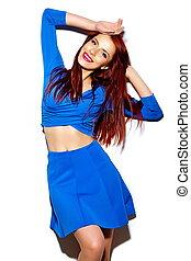 mulher, pano, moda, luminoso azul, casual, excitado, modelo, verão, glamor, jovem, elegante, alto, sorrindo, look., engraçado, bonito, hipster