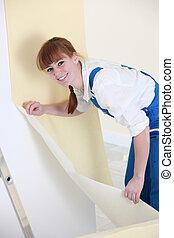 mulher, papel parede, penduradas