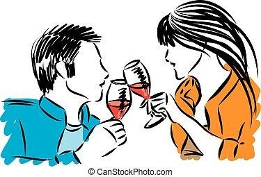 mulher, par, óculos, ilustração, vetorial, vinho, homem