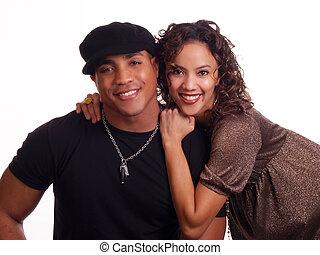 mulher, par, hispânico, homem jovem preto
