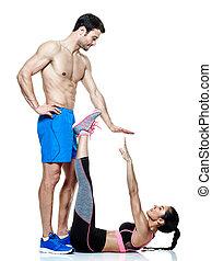 mulher, par, isolado, condicão física, exercícios, homem