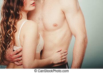 mulher, par., pelado, lingerie., metade, excitado, homem