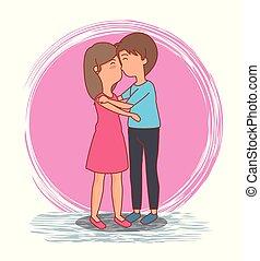 mulher, par, valentines, beijo, dia, homem