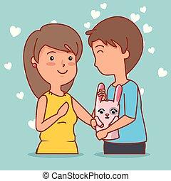 mulher, par, valentines, coelho, dia, comemorar, homem