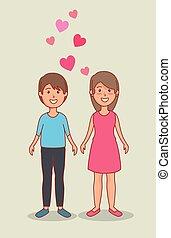 mulher, par, valentines, corações, homem, dia, celebração