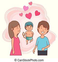 mulher, par, valentines, cupid, dia, homem