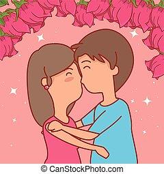mulher, par, valentines, rosas, beijo, dia, homem