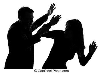 mulher, par, violência, doméstico, um homem