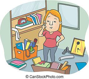 mulher, para, declutter, um, espaço escritório
