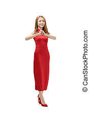 mulher, parabéns, chinês, tradicional, vestido bonito, gesto