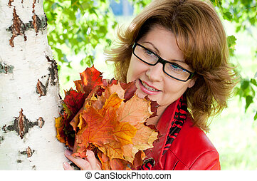 mulher, parque, óculos