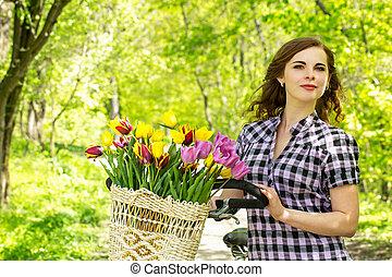 mulher, parque, feliz