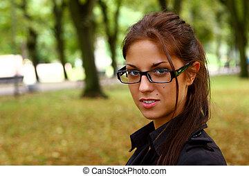 mulher, parque, jovem, outono