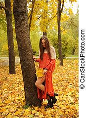 mulher, parque, jovem, outono, posar, bonito